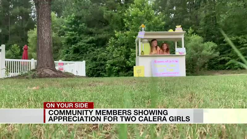 Community members showing appreciation for two Calera girls