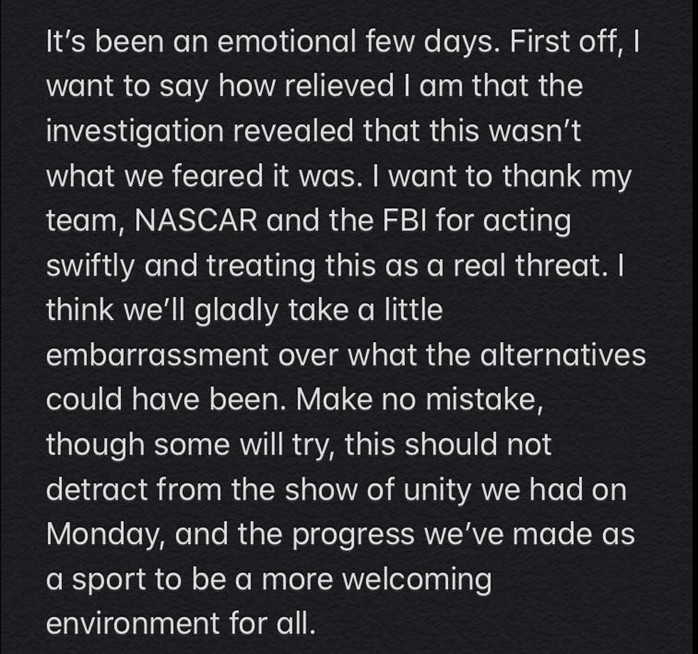 Bubba Wallace issues statement