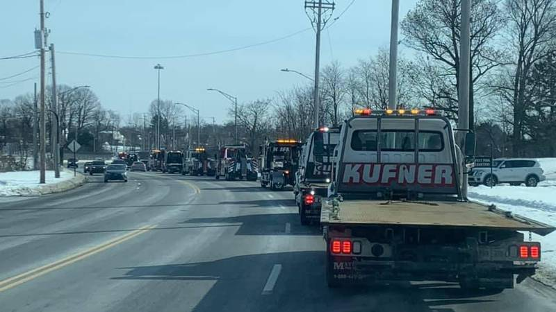 Tow truck drivers from all over Northeast Ohio and as far away as Tennessee processed through...