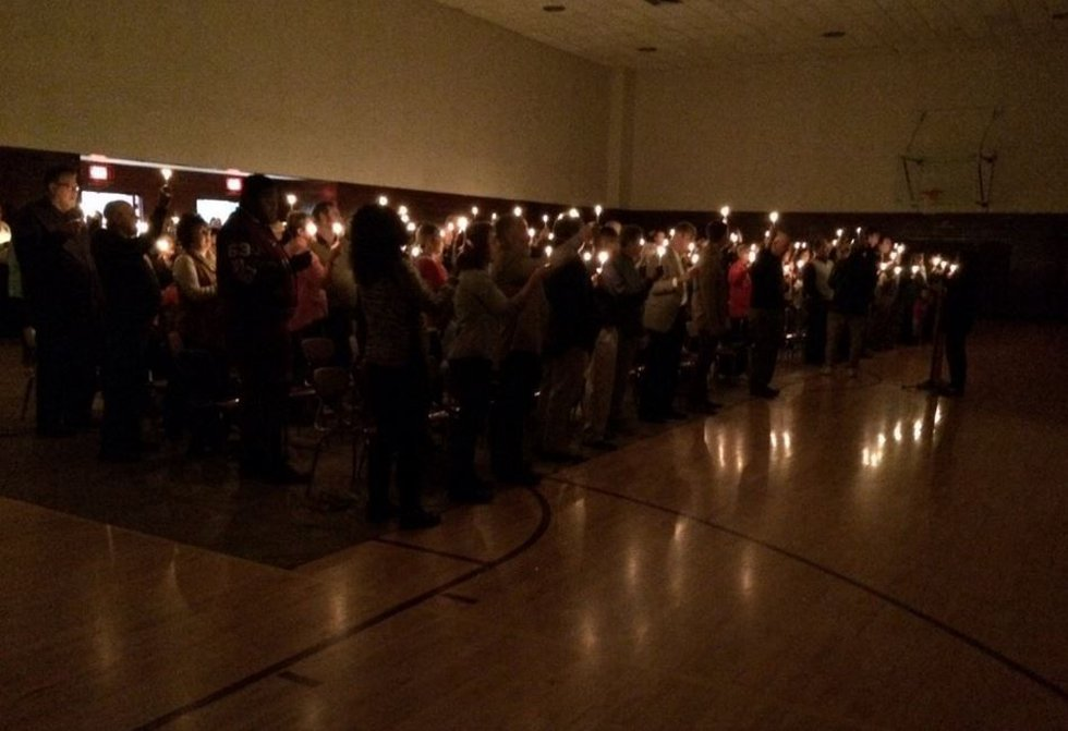 Hundreds of people gathered for the Hamilton community vigil for murder victims Linda Cole and...