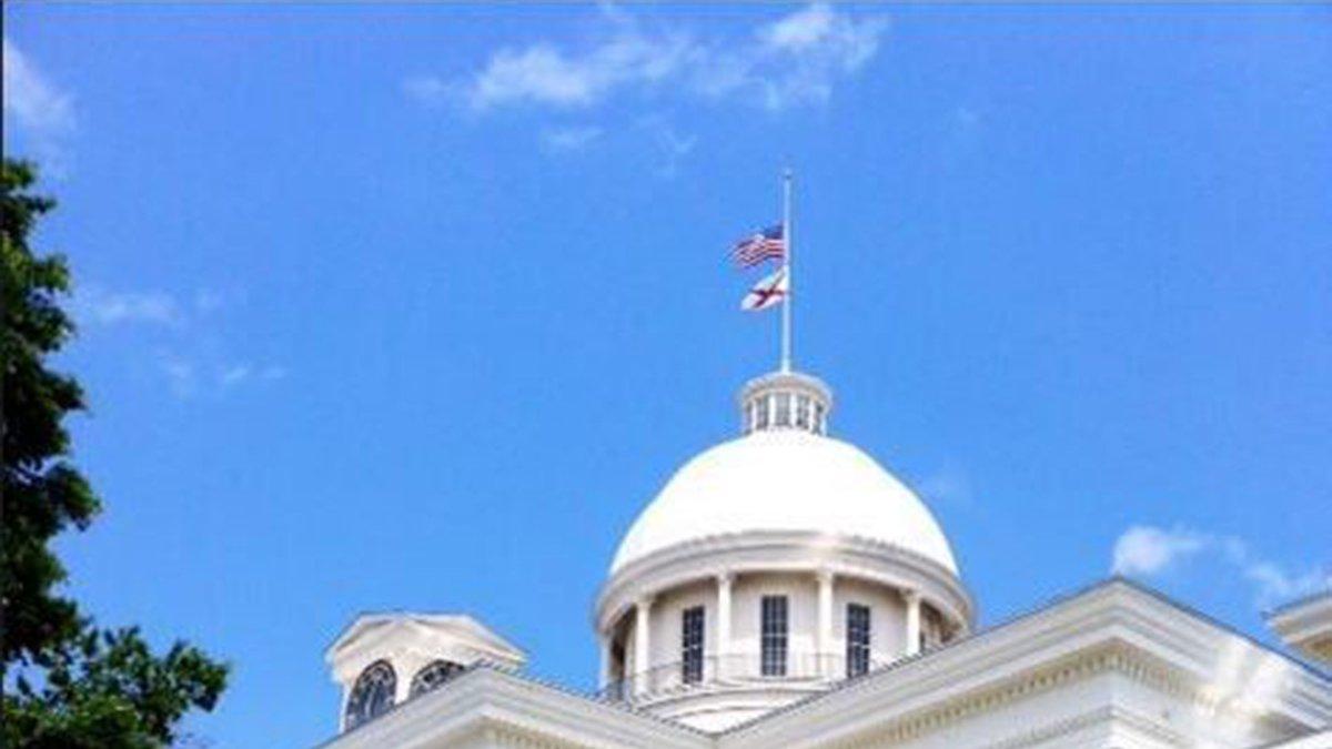 Alabama flags flown at half-staff.