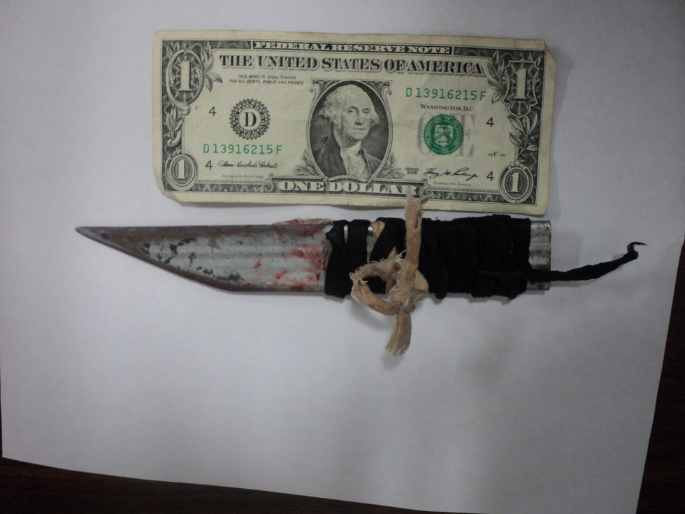 A homemade knife used in an assault. (Photo sent to WBRC)