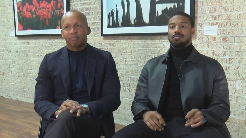 Michael B. Jordan (right) portrays Equal Justice Initiative Founder Bryan Stevenson (left) in...