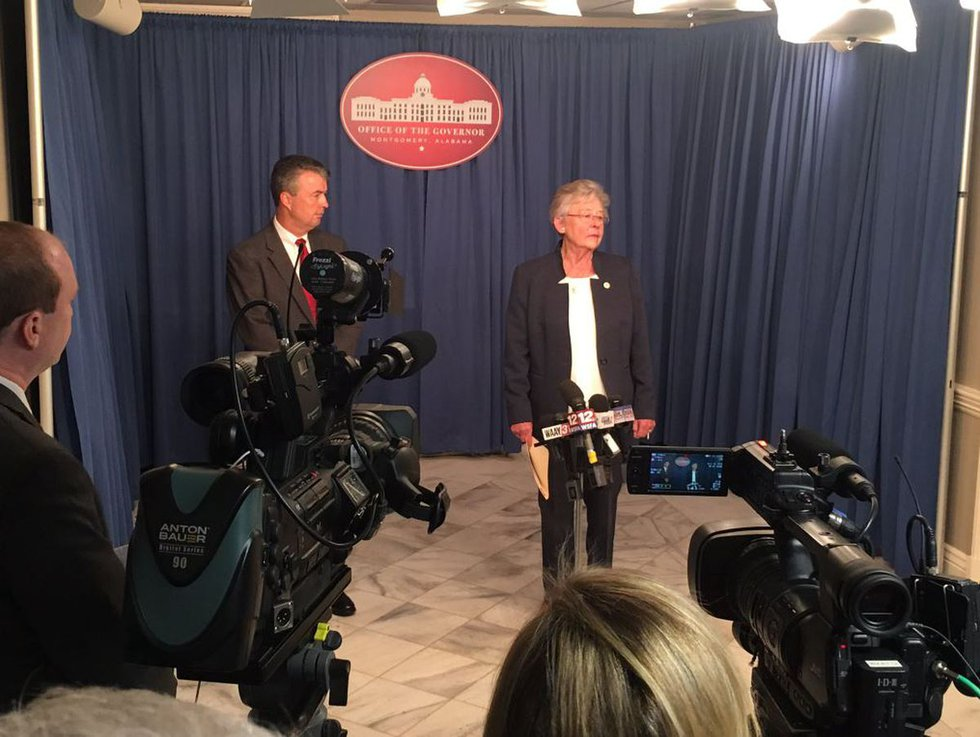 Alabama Attorney General Steve Marshall and Governor Kay Ivey announcing a moratorium on early...