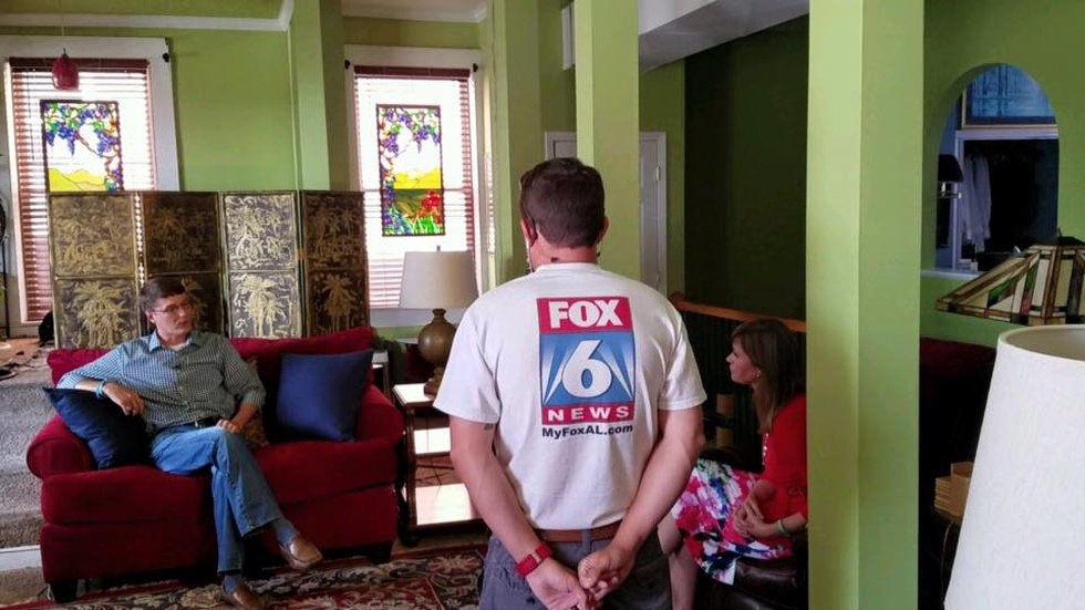 (Beth Shelburne and photojournalist Matt Kennedy interviewing Jonathan White. Source: Facebook)