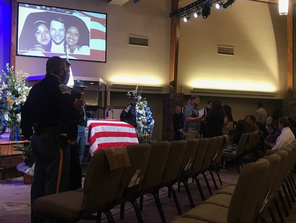 The viewing for Jason Vice, ALEA trooper who died after a battle with Covid-19, was held at...