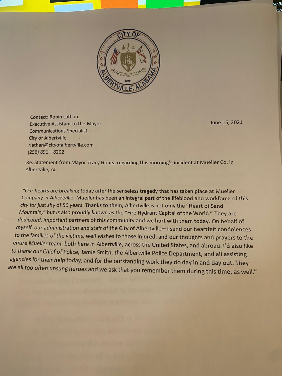 Statement from the Albertville Mayor