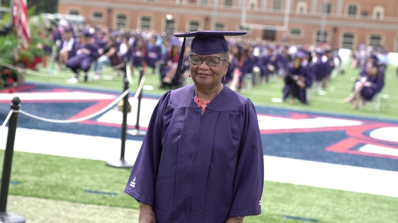 Ms. Vivian Cunningham, 78-year-old graduate from Samford University.