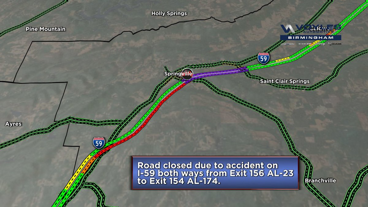 I-59 closed in both directions near Springville after crash