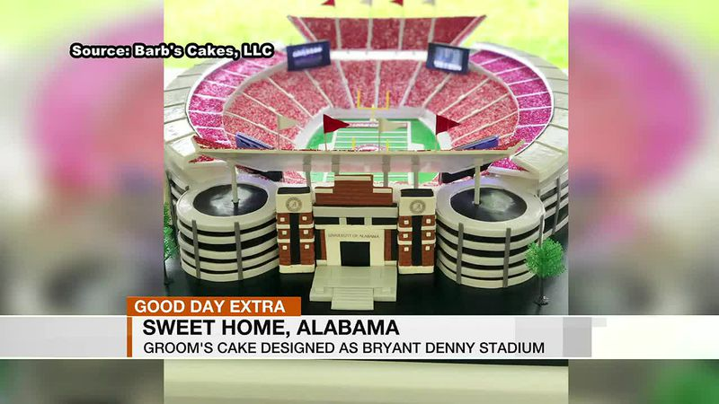 A baker designed a groom's cake to look like Bryant-Denny Stadium.