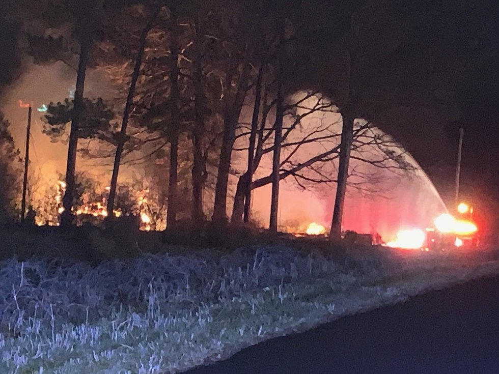 Crews say the call came in around 3 a.m. for a structure fire in Docena.
