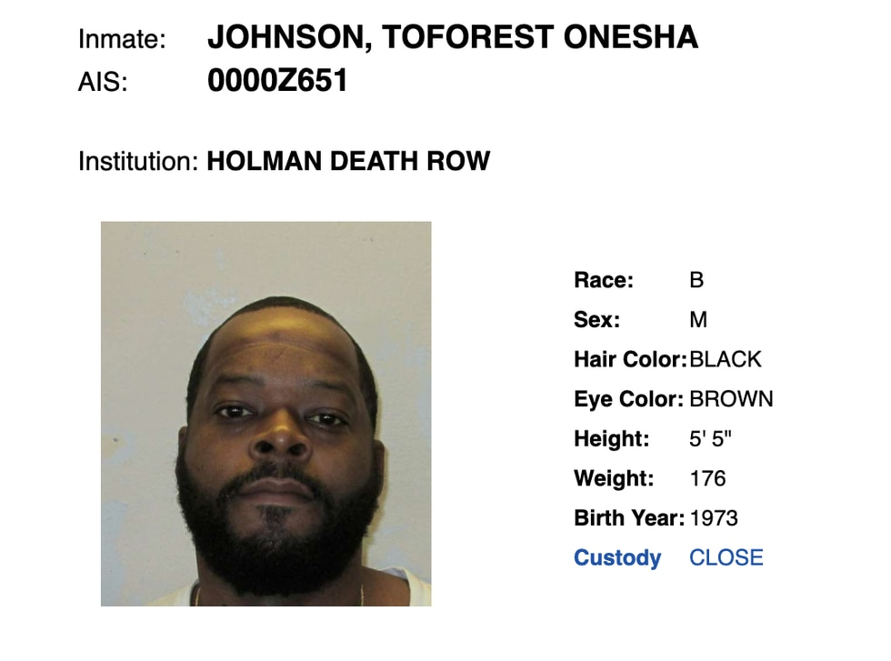 Toforest Johnson has served 21 years on Alabama's death row.
