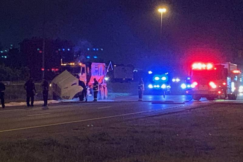 A waste truck fire is under control after causing a traffic delay on I-65 and I-22.