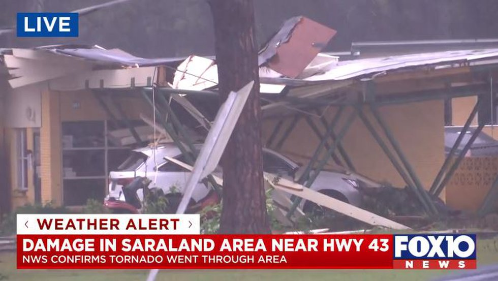 Storm damage in Saraland