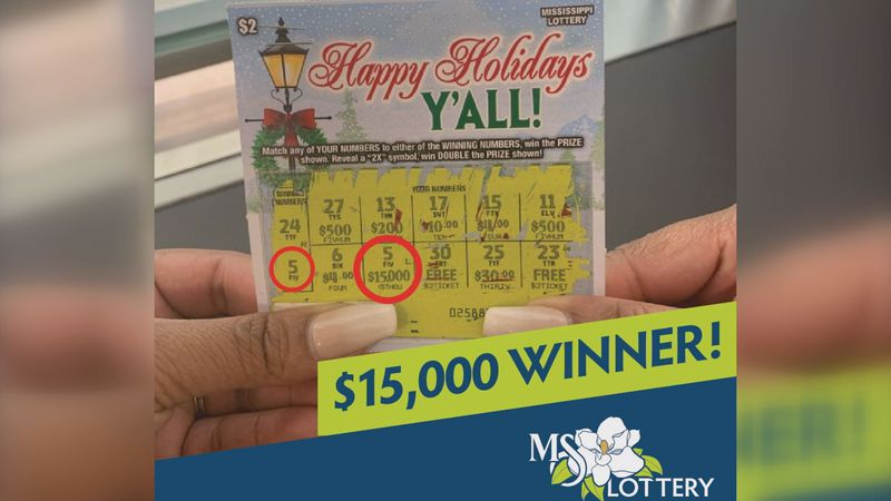 Anonymous woman wins $15,000 on a Mississippi Lottery scratch-off ticket