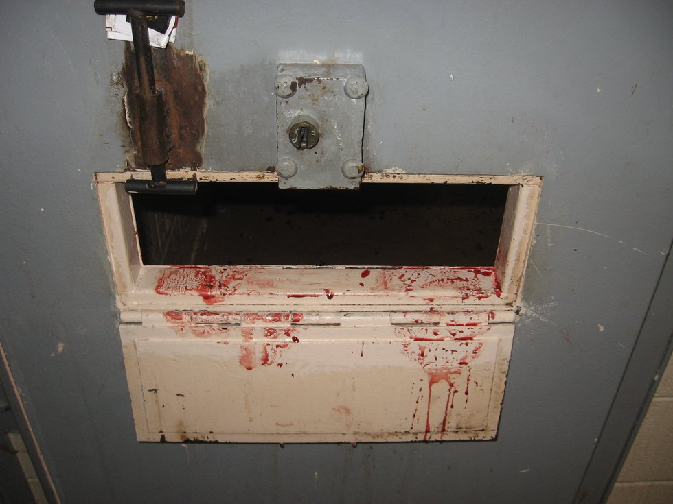 A segregation cell where a prisoner attempted suicide. (Photo sent to WBRC)