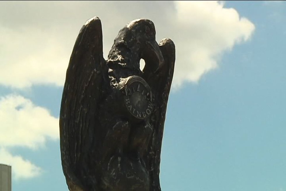One of the bronze eagles watching over the Rainbow viaduct. Source: WBRC video