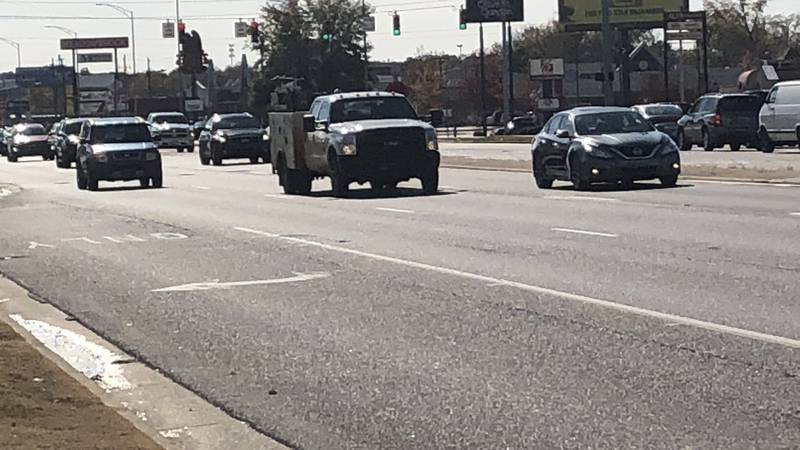 Traffic on Tuscaloosa's McFarland Boulevard Wednesday