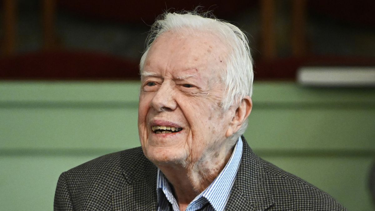 FILE - In this Nov. 3, 2019 file photo, former President Jimmy Carter teaches Sunday school at...