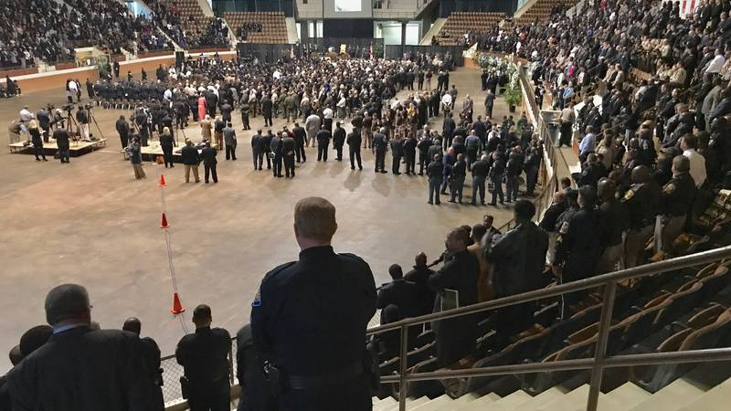 The funeral of Lowndes County Sheriff 'Big John' Williams at Montgomery's Garrett Coliseum.