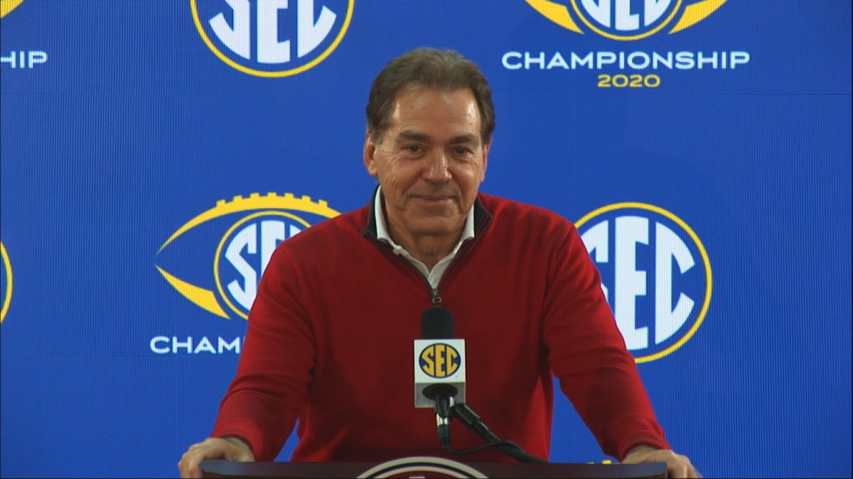 Nick Saban during the SEC coaches press conference to preview the SEC Championship game.