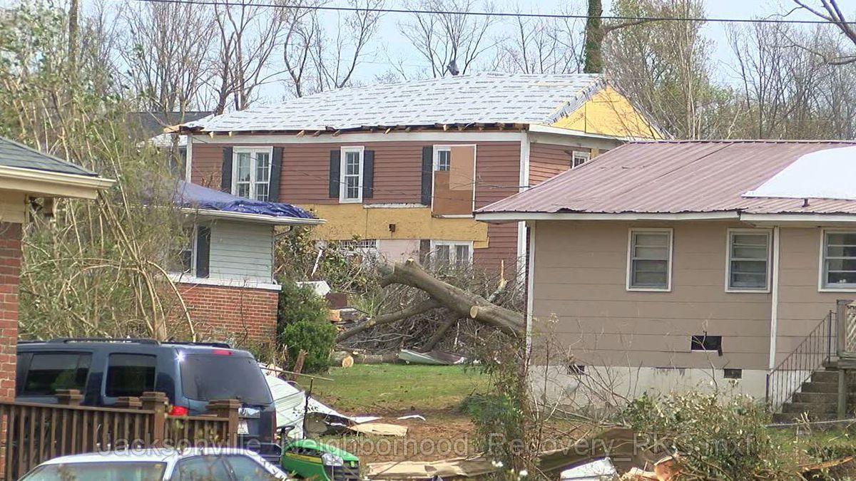 Tornado damage in Jacksonville, Ala. March 2018. (Source: WBRC video)
