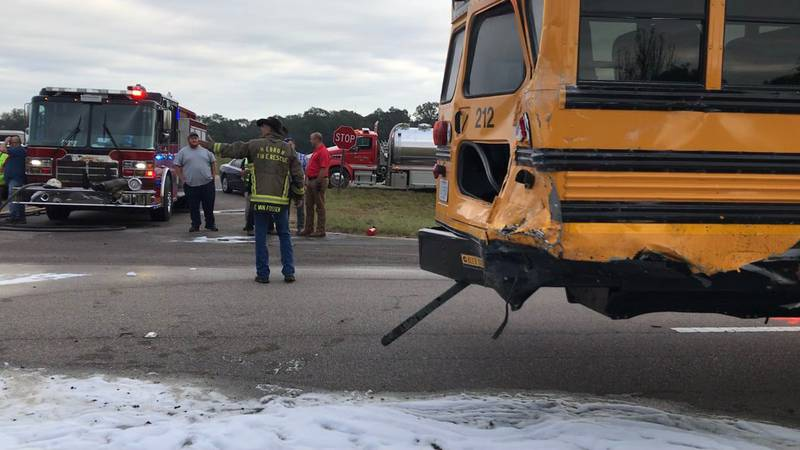 A Jones County school bus was involved in a crash with a pickup truck on U.S. Highway 84 on...