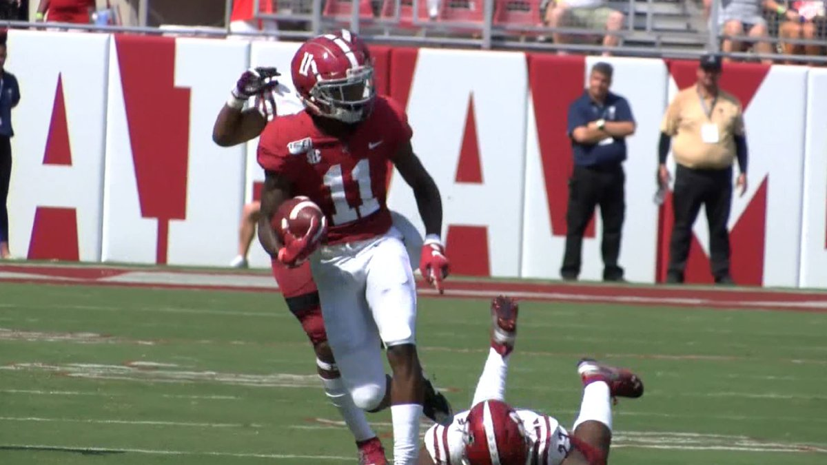 University of Alabama wide receiver Henry Ruggs III (11) in the open field during a 75-yard...