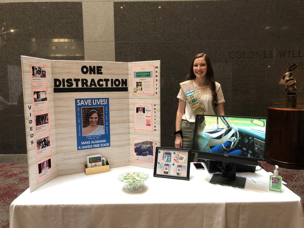 local girl scout on a mission to save lives and stop distracted driving