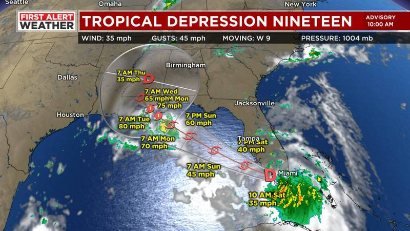 Tropical Depression Nineteen a significant threat to the Gulf Coast