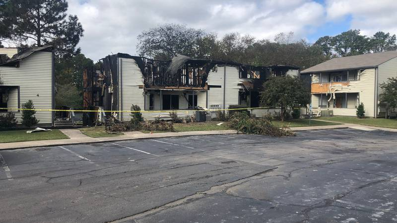 The fire destroyed buildings number four and five at Pine Ridge Apartments in East Gadsden.
