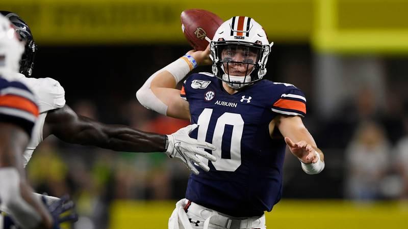 Auburn quarterback Bo Nix in the first halfAuburn vs Oregon on Saturday Aug. 31 2019 in...