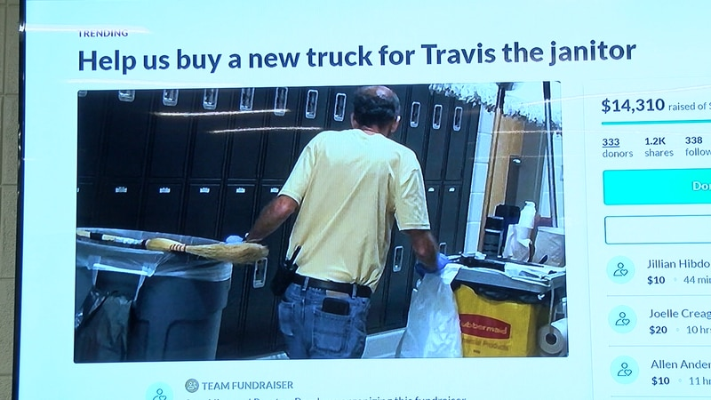 Students raise money to buy janitor a new truck
