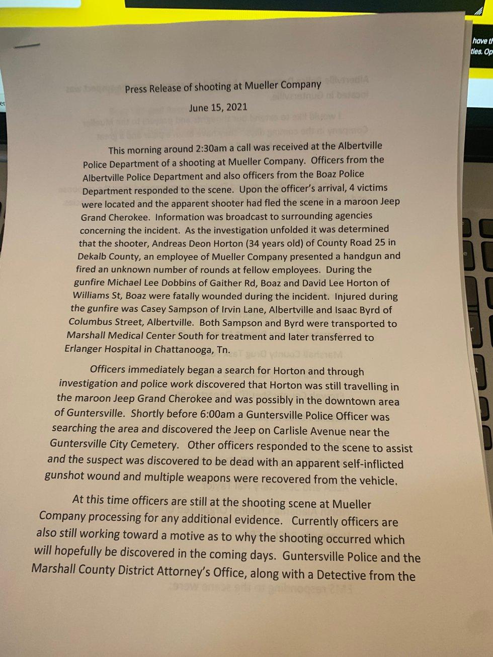 Prepared statement from Albertville Police Chief Jamie Smith