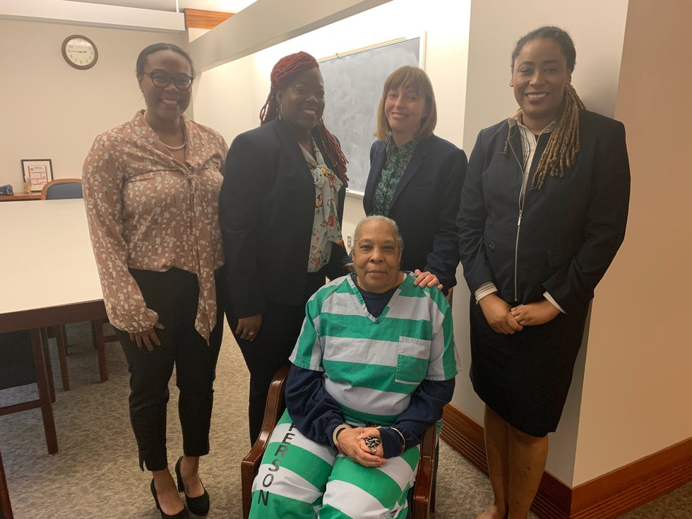 Geneva Cooley with her legal team. L to R, Kari Todd, law student, Terrika Shaw, attorney,...