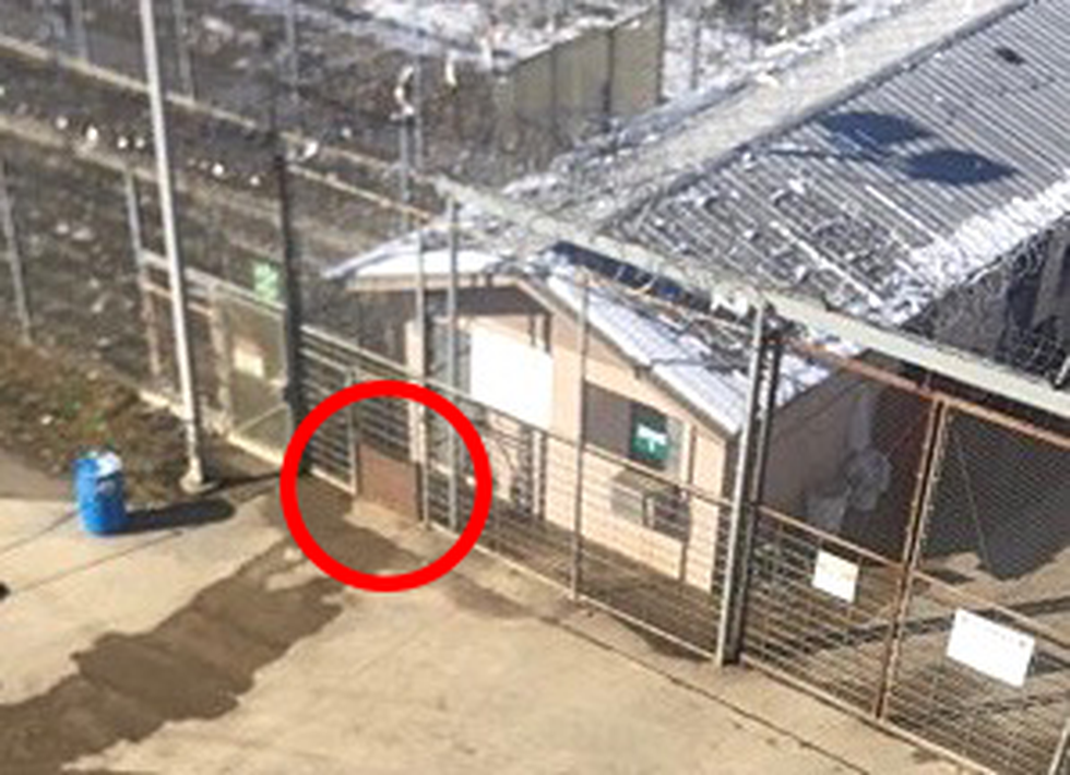 Photo of damaged fence from prison escape at St. Clair Correctional Facility.