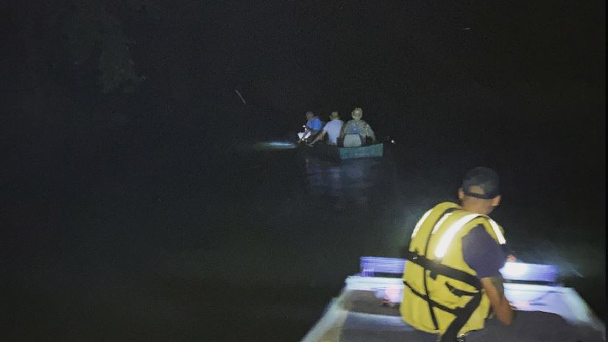 Three missing people were rescued from the Locust Fork River on Sunday.