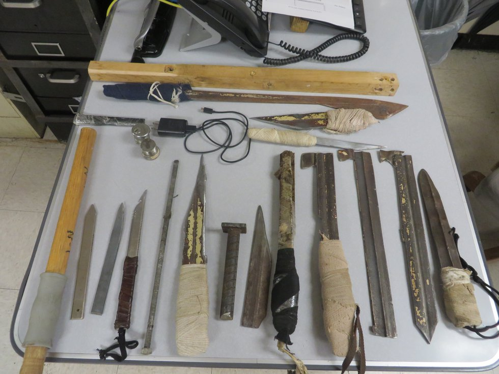 Homemade weapons are common in Alabama prisons, cites DOJ. (Photo sent to WBRC)