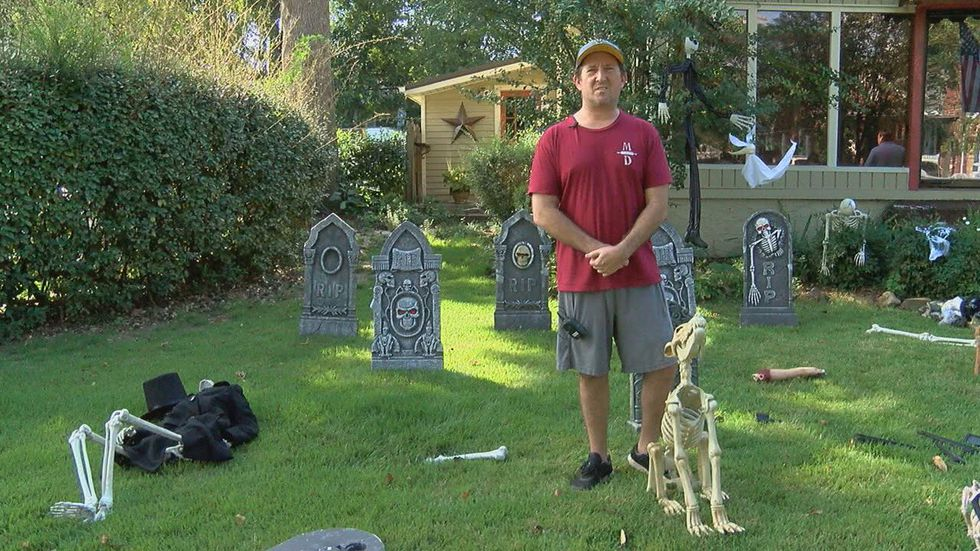 A picture of a Halloween decoration outside a Homewood house was posted on Facebook.