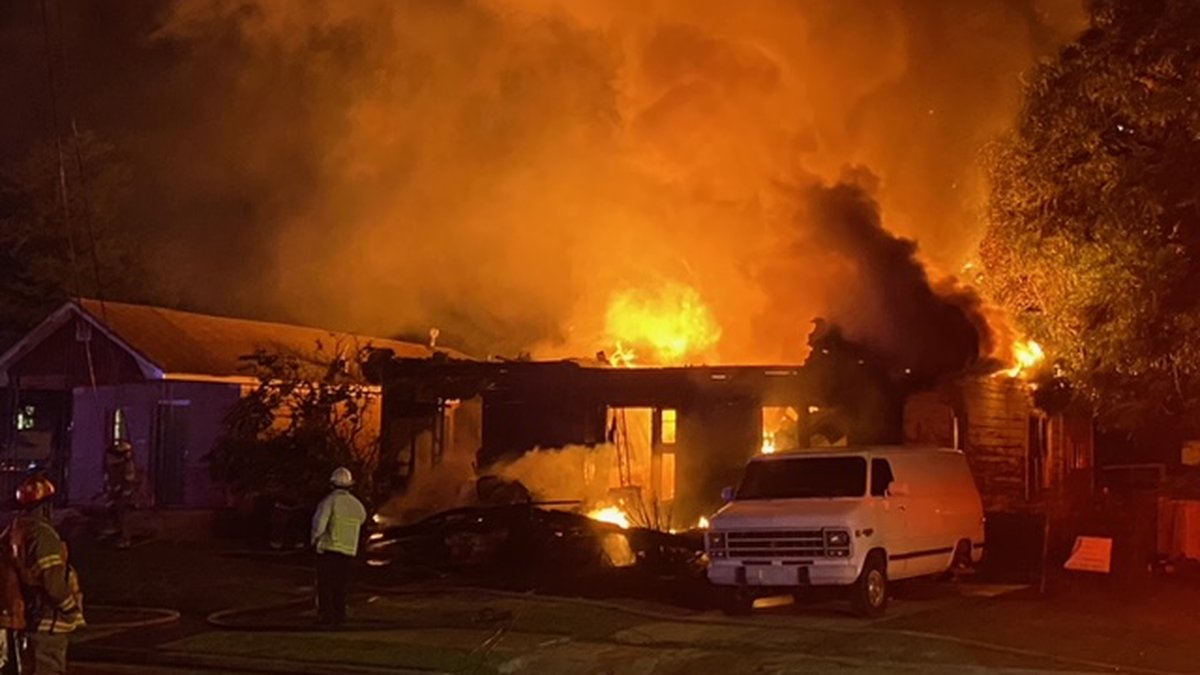 Birmingham firefighters are battling a house fire in the Titusville area.