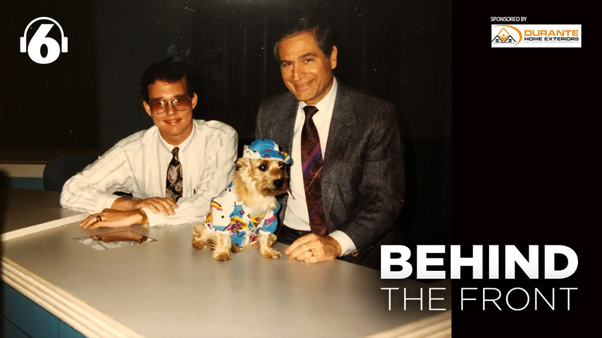 18-year-old J-P Dice with Roy Leep and Scud the weather dog at WTVT in Florida.