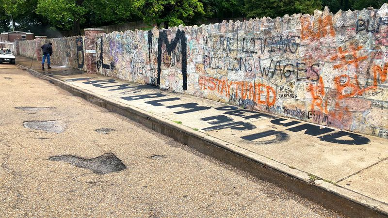 The wall outside Graceland was found defaced with graffiti Tuesday, Sept. 1, 2020.