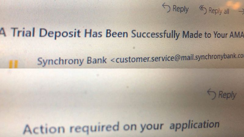 Synchrony Bank is responding to a glitch email many received.