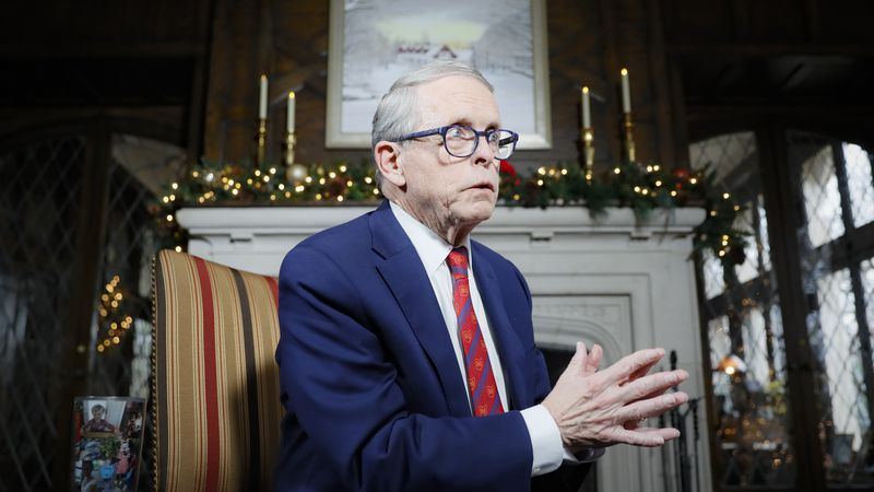 FILE - Ohio Gov. Mike DeWine speaks at the governor's residence in Columbus