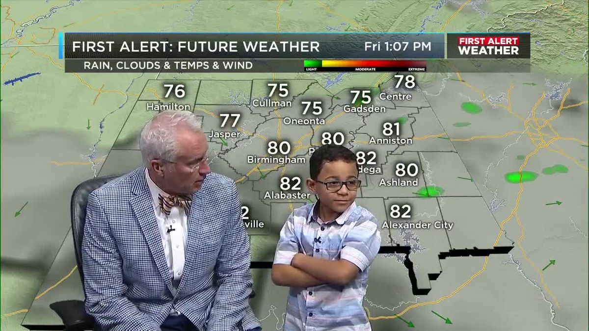 Mickey's friend Kaleb helps with the weather.
