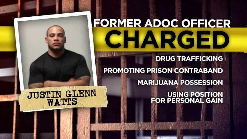 Former ADOC officer Justin Watts was arrested in May, 2018.