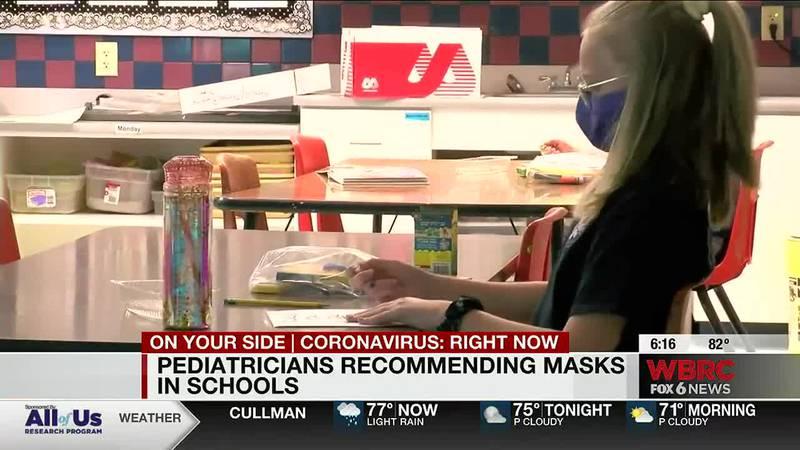 Pediatricians recommend masks for school