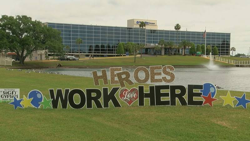 A Heroes sign outside Singing River Hospital in Pascagoula.