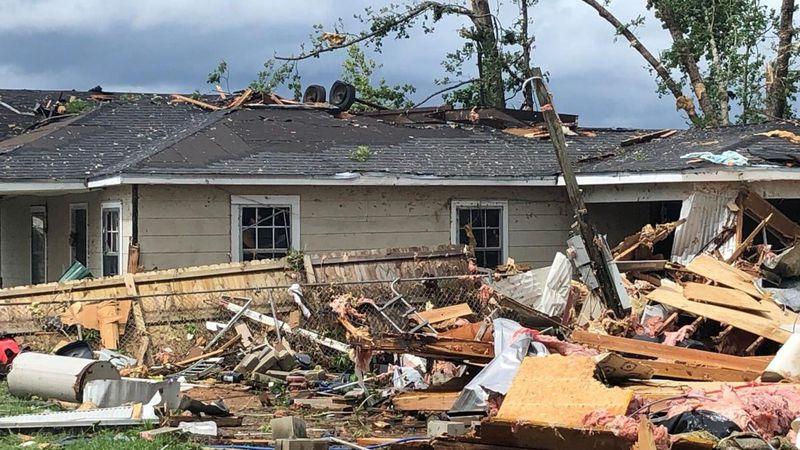 EF-2 tornado damage in Brewton