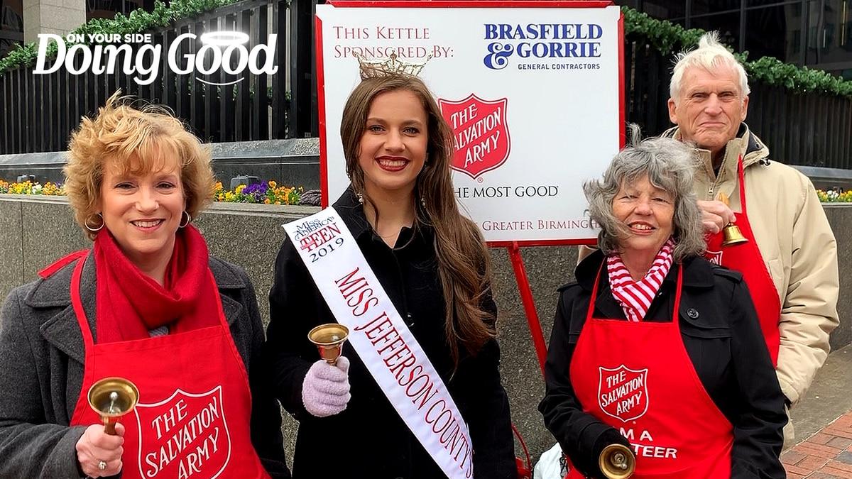"Members of the Birmingham Optimist Club ""Doing Good"" as Salvation Army Bellringers"